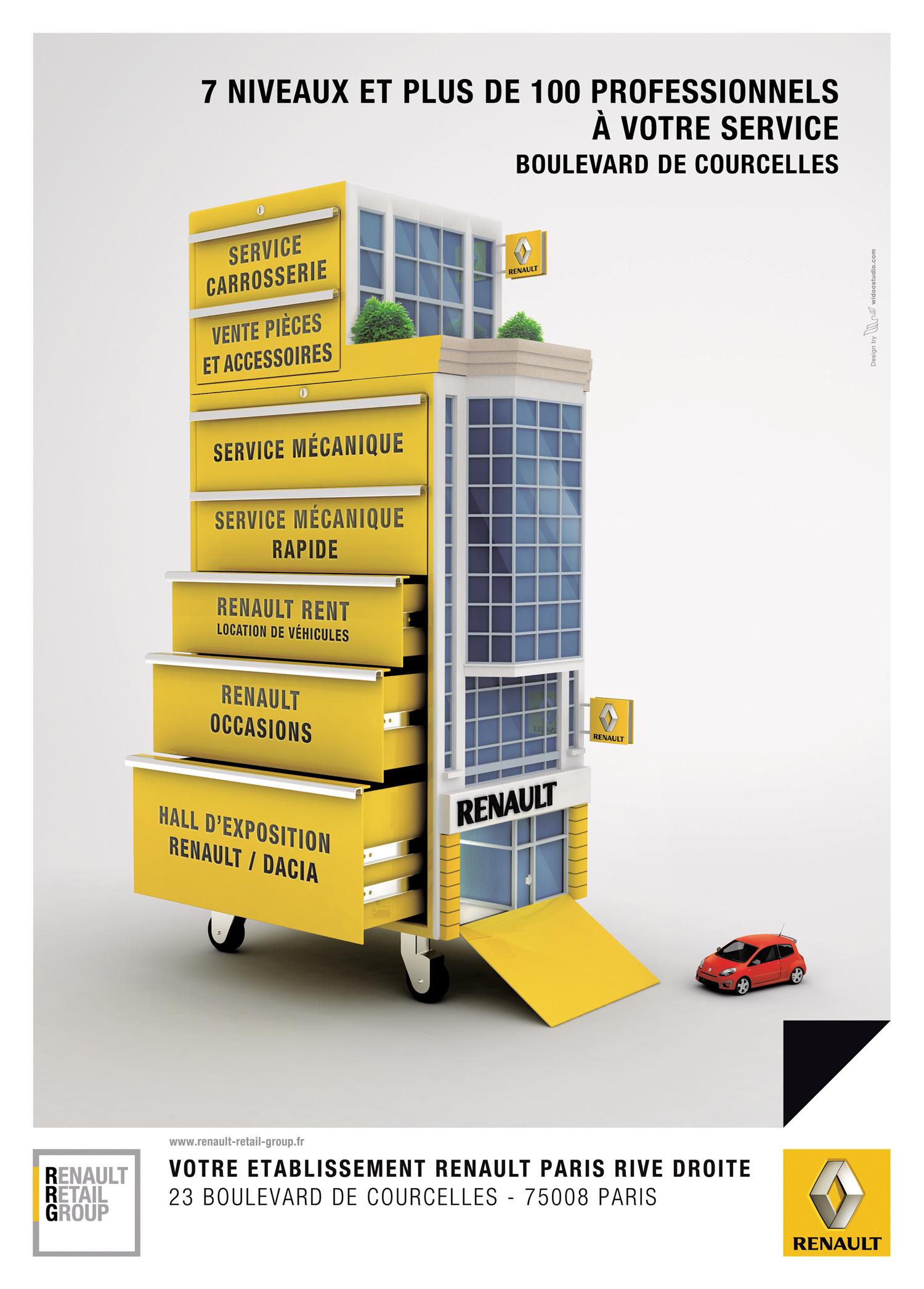 Visuel publicitaire Renault Courcelles